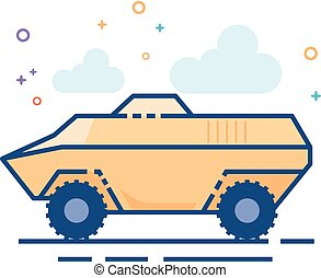 Flat Color Icon - Armored vehicle