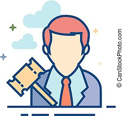 Flat Color Icon - Auctioneer