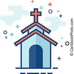 Flat Color Icon - Church - Church icon in outlined flat...