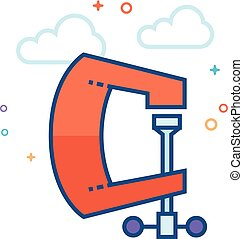 Flat Color Icon - Clamp tool - Clamp tool icon in outlined...