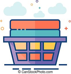 Flat Color Icon - Clothes basket