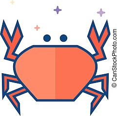 Flat Color Icon - Crab