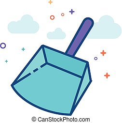 Flat Color Icon - Dustpan - Dustpan icon in outlined flat...