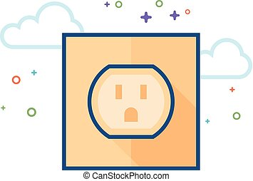 Flat Color Icon - Electrical outlet