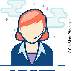 Flat Color Icon - Female receptionist - Female receptionist...