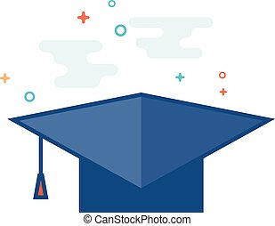 Flat Color Icon - Graduation hat - Graduation hat icon in...