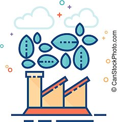 Flat Color Icon - Green factory