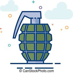 Flat Color Icon - Grenade - Grenade icon in outlined flat...