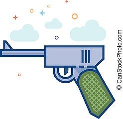 Flat Color Icon - Hand Gun
