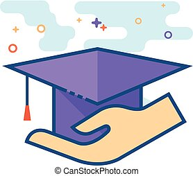 Flat Color Icon - Hand holding diploma - Hand holding...