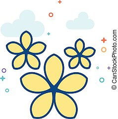 Flat Color Icon - Jasmine flowers - Jasmine flowers icon in...