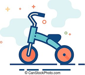 Flat Color Icon - Kids tricycle - Kids tricycle icon in...