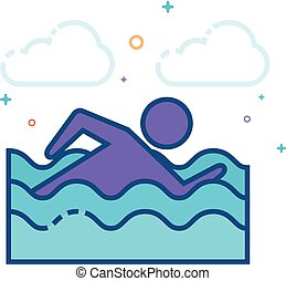 Flat Color Icon - Man swimming