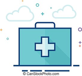 Medical case icon in outlined flat color style. Vector illustration.