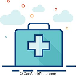 Vintage medical case icon in outlined flat color style. Vector illustration.