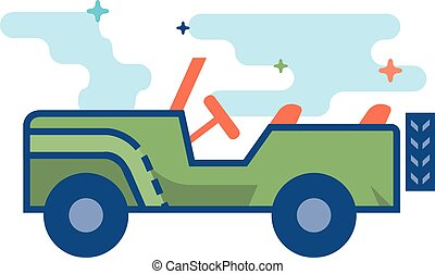 Flat Color Icon - Military vehicle