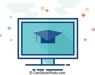 Flat Color Icon - Online Education