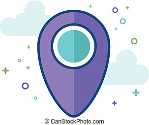 Flat Color Icon - Pin location map