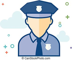 Flat Color Icon - Police avatar
