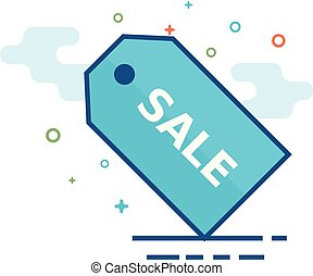 Flat Color Icon - Sale tag - Sale tag icon in outlined flat...