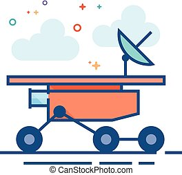 Flat Color Icon - Space rover - Space rover icon in outlined...