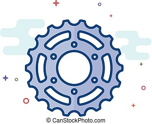 Flat Color Icon - Sprocket - Sprocket icon in outlined flat...