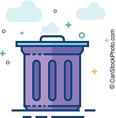 Flat Color Icon - Trash bin