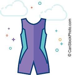 Flat Color Icon - Triathlon suit