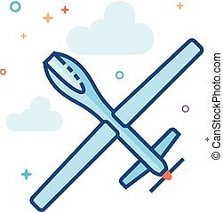 Flat Color Icon - Unmanned aerial vehicle