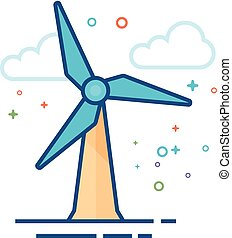 Wind turbine icon in outlined flat color style. Vector illustration.