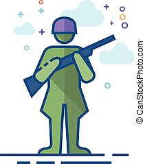 Flat Color Icon - World War army - World War army icon in...