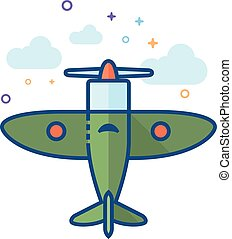 Flat Color Icon - World War - World War icon in outlined...