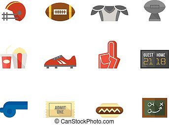 Flat color icons - American Football
