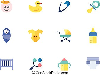 Flat color icons - Babies