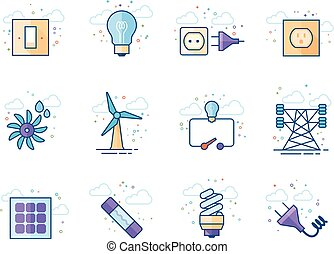 Flat color icons - Electricity
