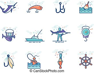Flat color icons - Fishing