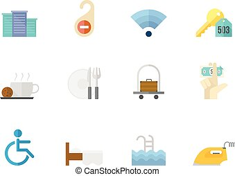 Flat color icons - Hotel
