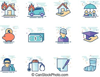 Flat color icons - Insurance