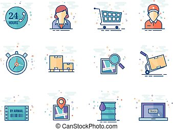 Flat color icons - Logistic