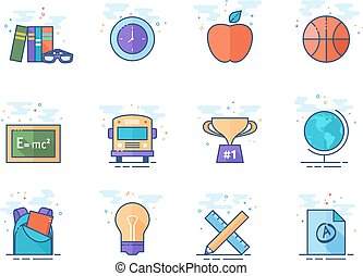 Flat color icons - School