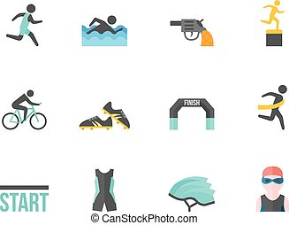Flat Color Icons - Triathlon