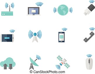 Flat color icons - Wireless