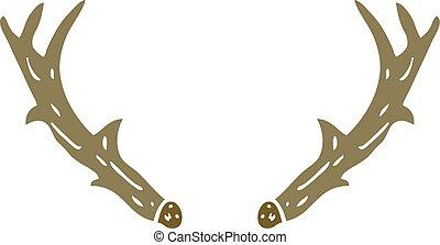 flat color illustration cartoon antlers