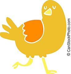 flat color illustration cartoon bird running