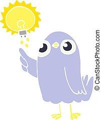 flat color illustration cartoon bird with great idea