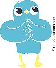 flat color illustration cartoon bird with plan