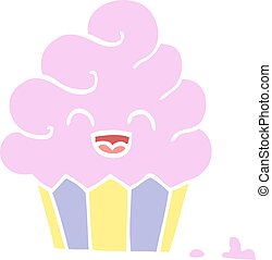 flat color illustration cartoon cupcake