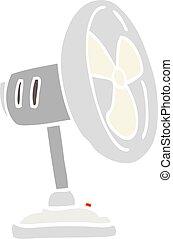 flat color illustration cartoon desktop fan