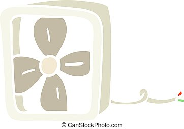 flat color illustration cartoon electric fan