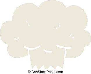 flat color illustration cartoon explosion cloud